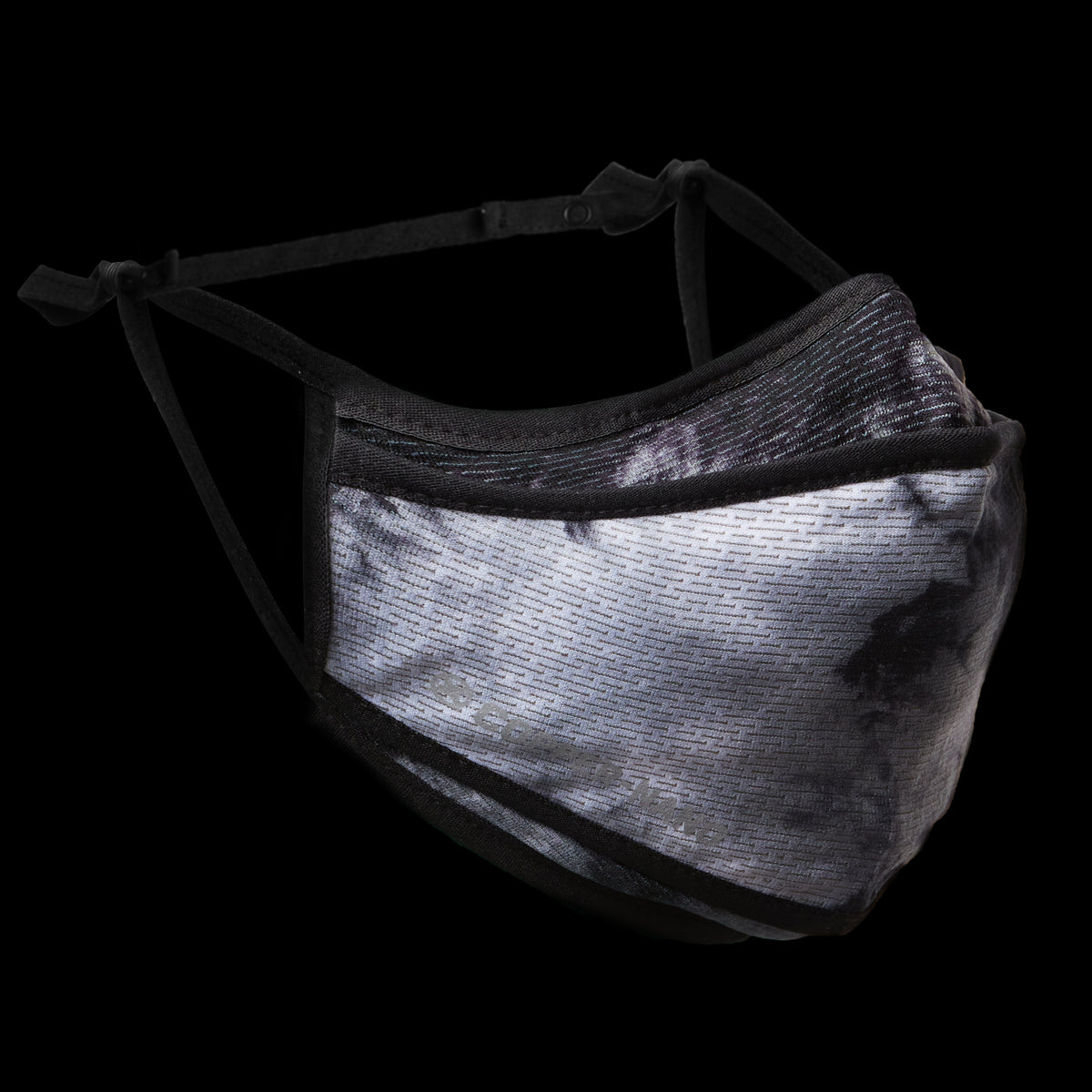 0384. Copper-Nano Tri-Fold Face Mask (with Bag) - Black Tie Dye