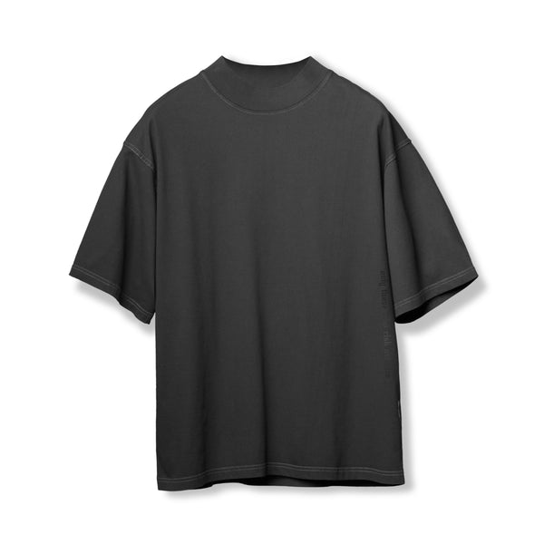 0385. CottonPlus™ Oversized Mock Neck Tee - Black