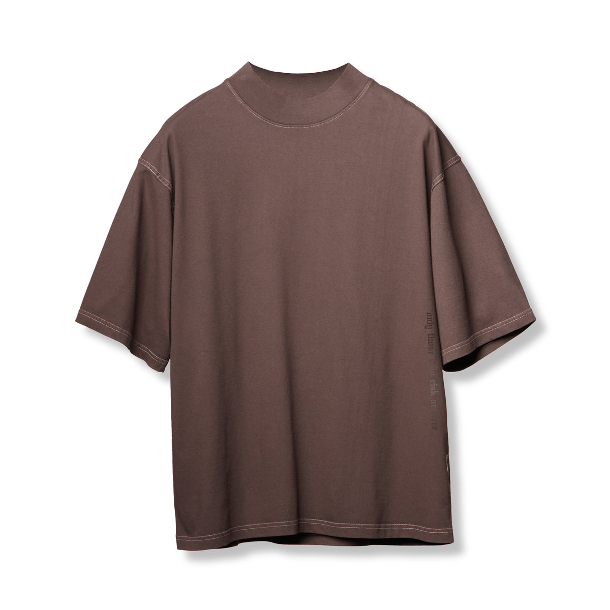 0385. CottonPlus™ Oversized Mock Neck Tee - Dark Earth