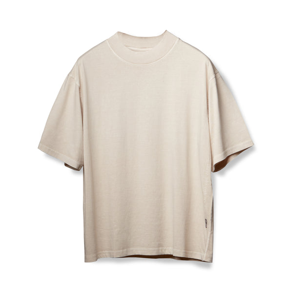 0385. CottonPlus™ Oversized Mock Neck Tee - Faded Off-White