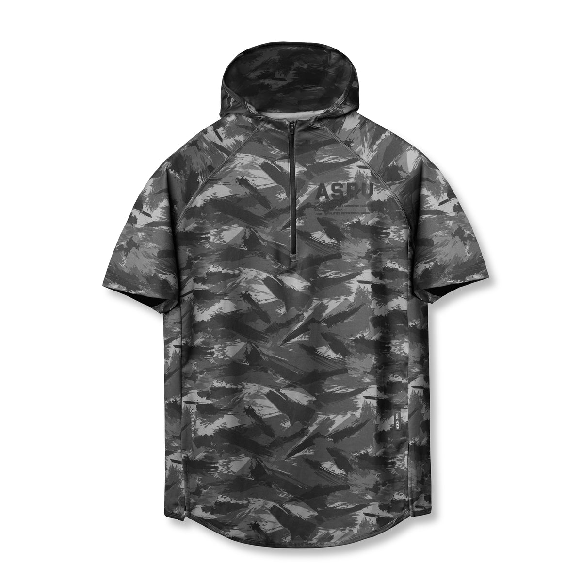0328. SilverPlus® Fitted Short-Sleeve Hoodie - Black Brushed Camo