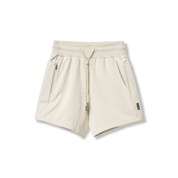 0398. French Terry Sweat Shorts - Ivory Cream