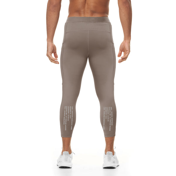 0267. Reflexx® 3/4 Side Pocket Performance Legging - Light Taupe