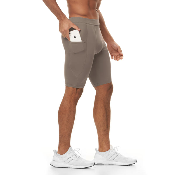 0286. Reflexx® Side Pocket Performance Short - Light Taupe