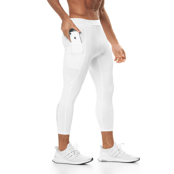 0267. Reflexx® 3/4 Side Pocket Performance Legging - White