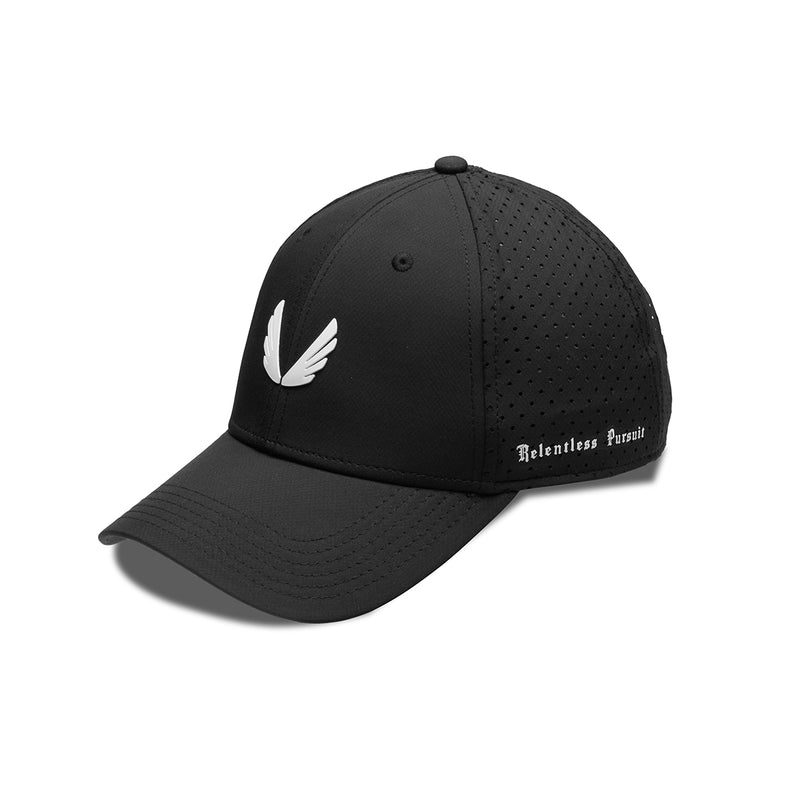Perforated Sport Cap Wings Logo - Black/White