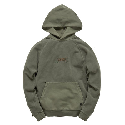 0234. Garment-Dyed Reverse Knit Hoodie - Olive