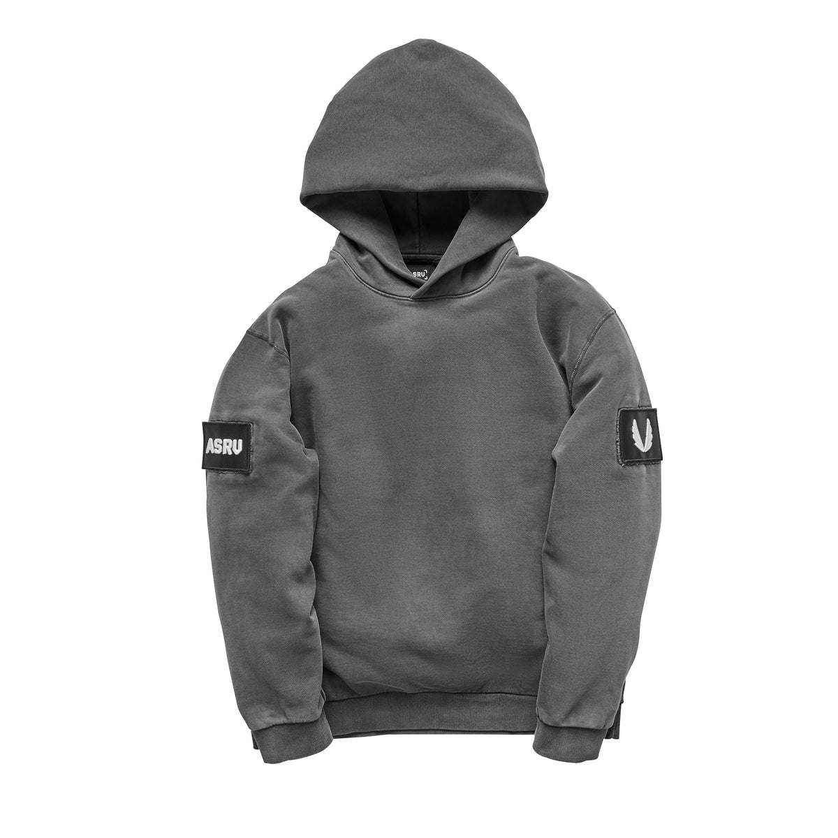 0302. Garment-Dyed Patch Hoodie - Faded Grey
