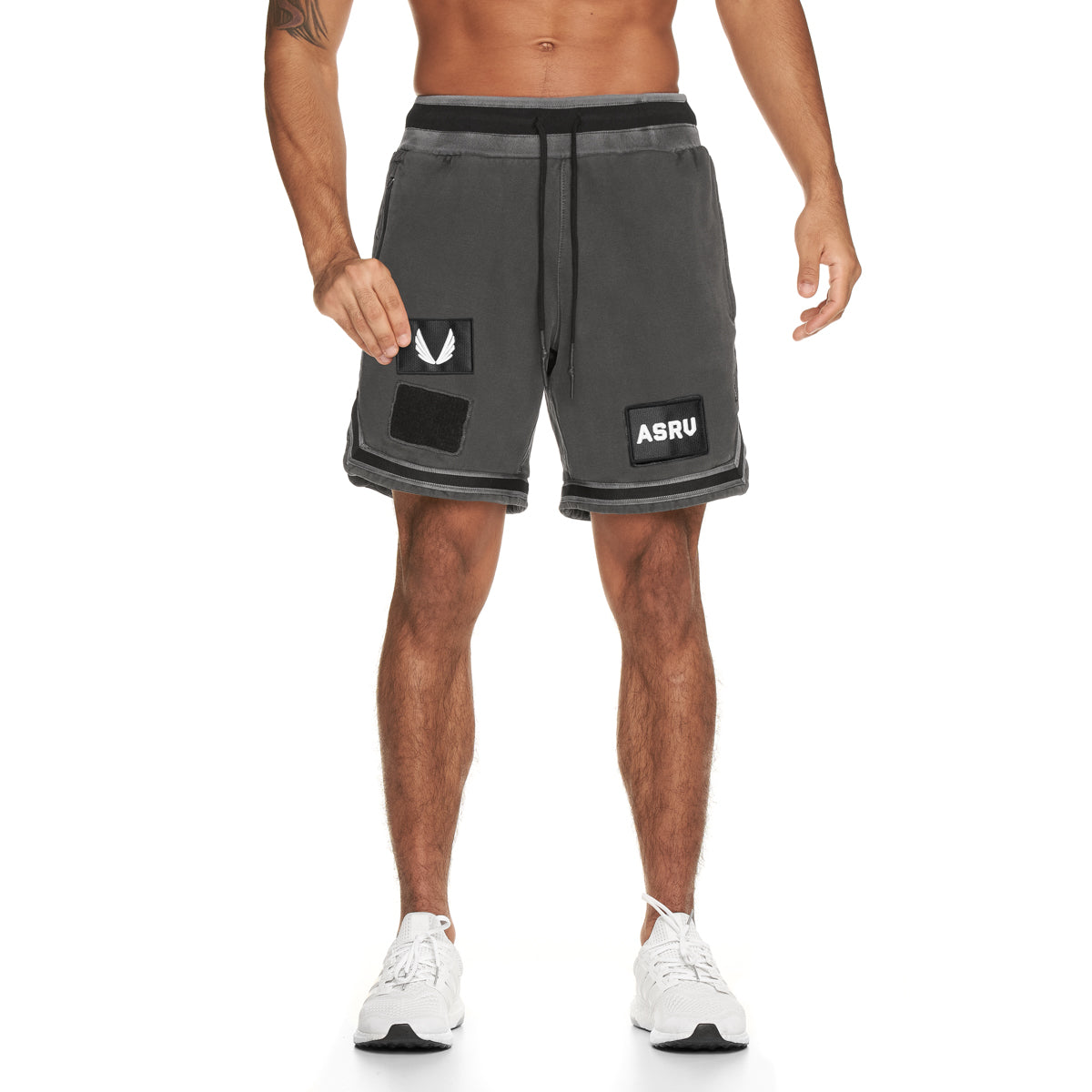 0287. Garment-Dyed Patch Basketball Shorts - Faded Grey