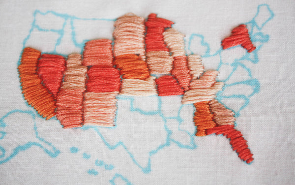 DIY DORM DECOR PART 3 – Embroidered Map