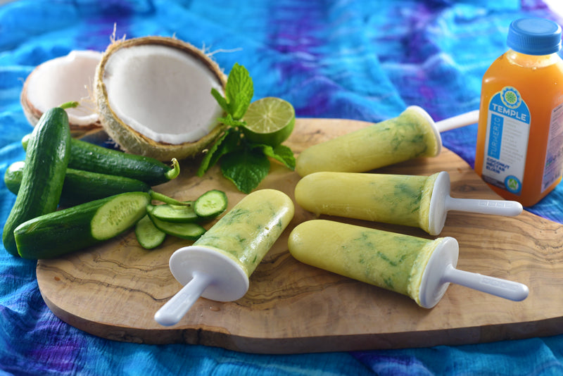 Vegan Coconut Cucumber Mint Popsicles