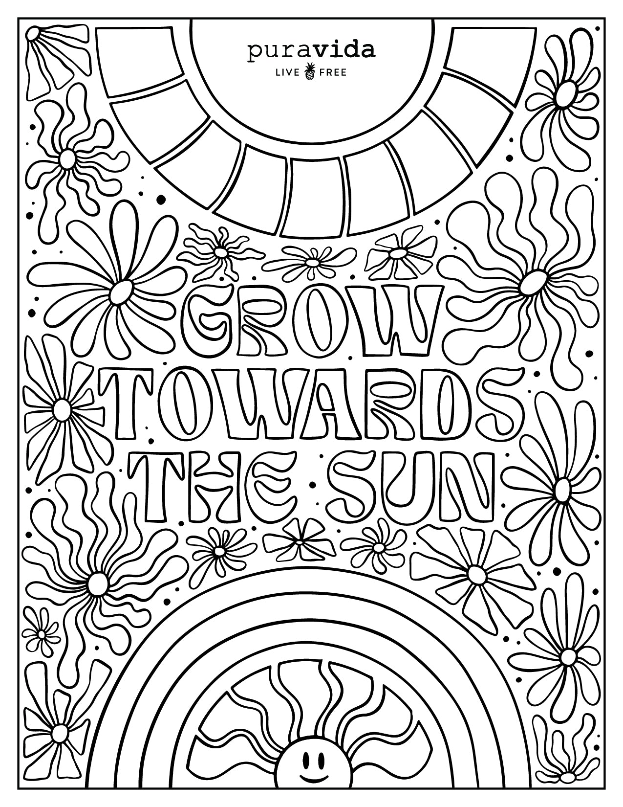 PV Birthday Coloring Sheets - Grow Towards the Sun