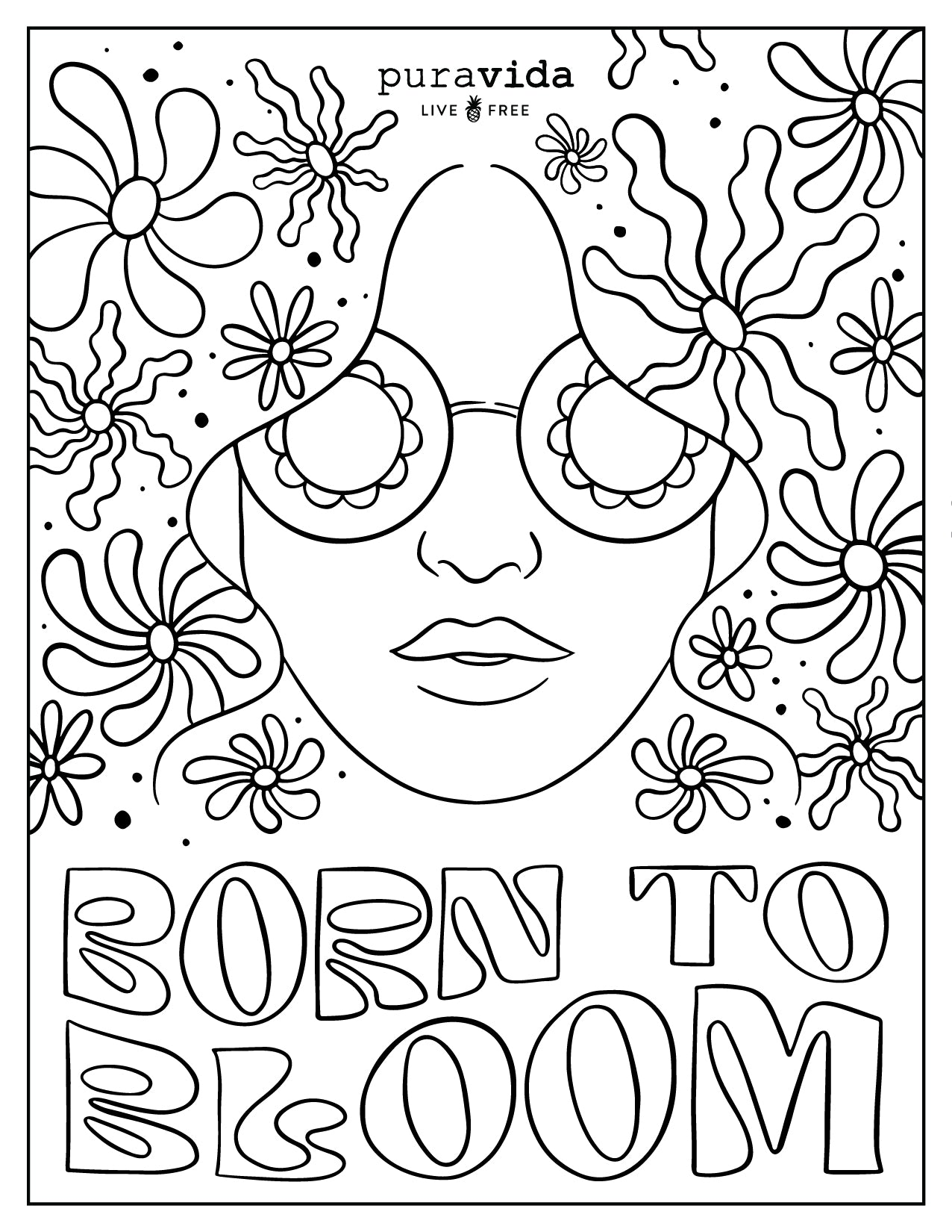 PV Birthday Coloring Sheets - Born to Bloom