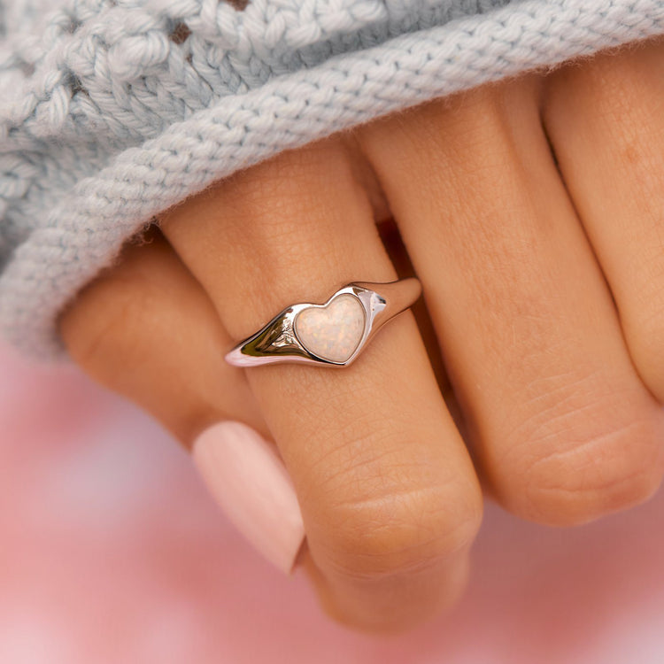 Stone Heart Signet Ring