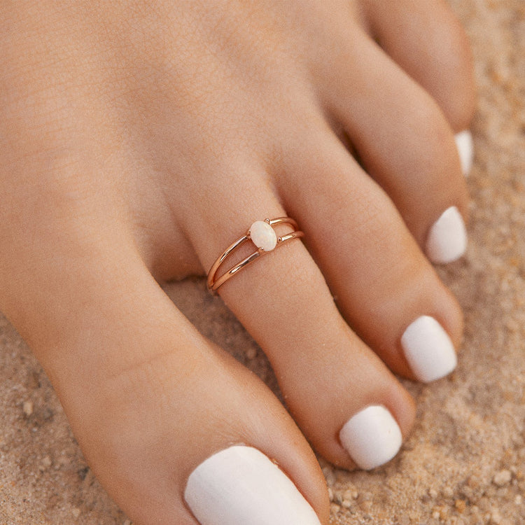 Floating Opal Toe Ring