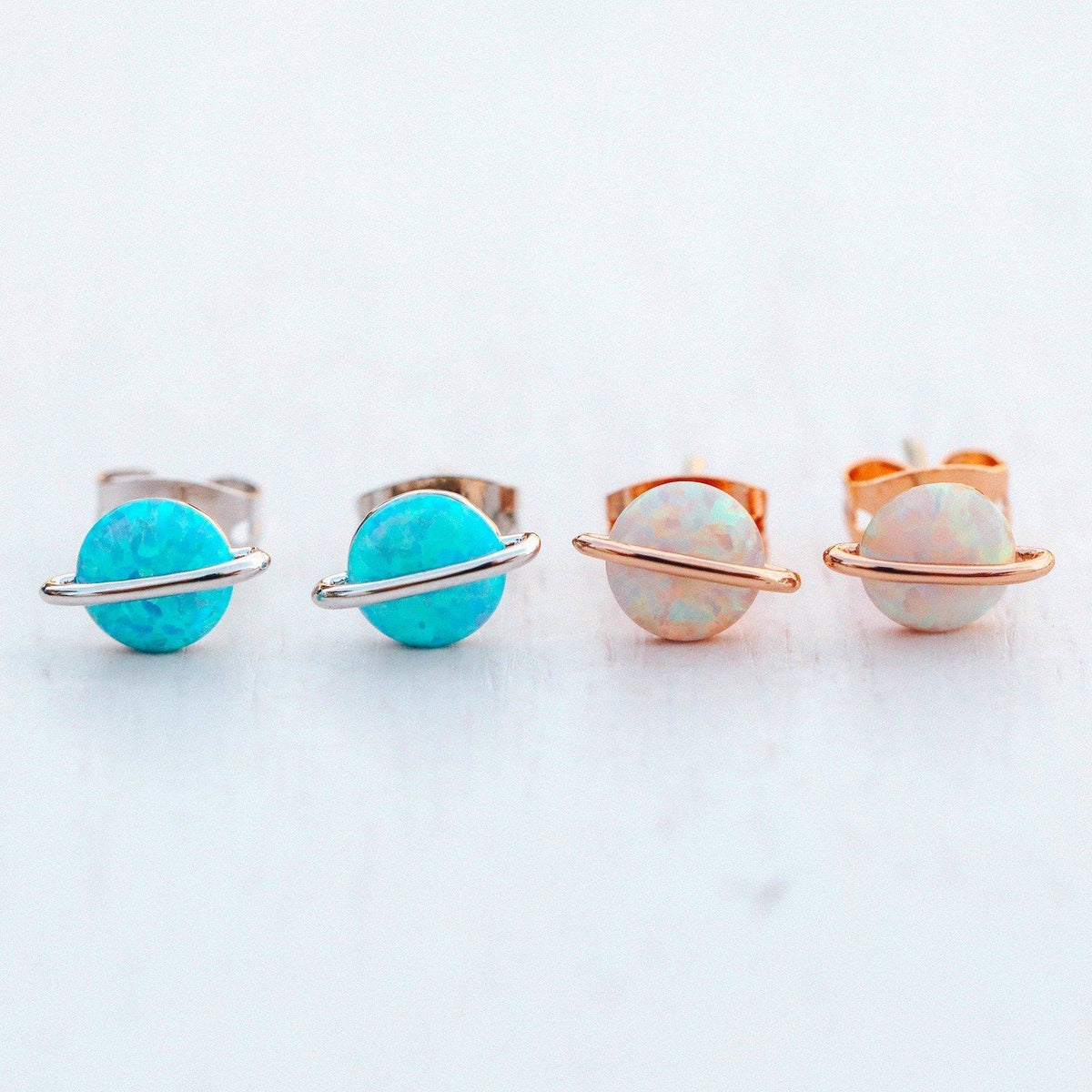 Opal Saturn Stud Earrings 9