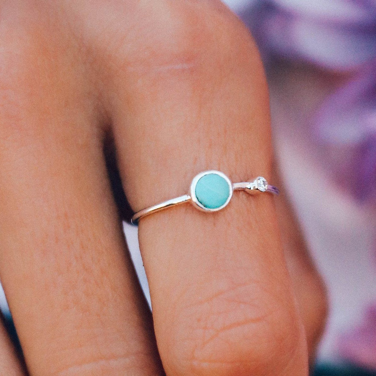 Turquoise Double Stone Ring Photo 2
