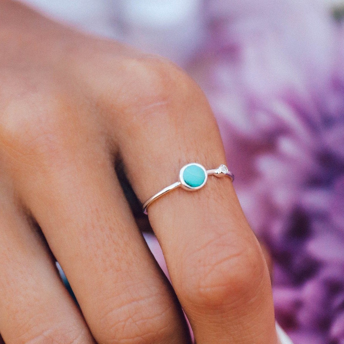 Turquoise Double Stone Ring Photo 3
