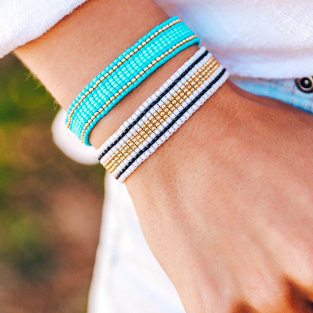 Striped Beaded Bracelet Blue