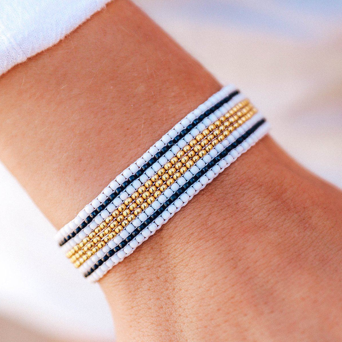Striped Beaded Bracelet Black & White