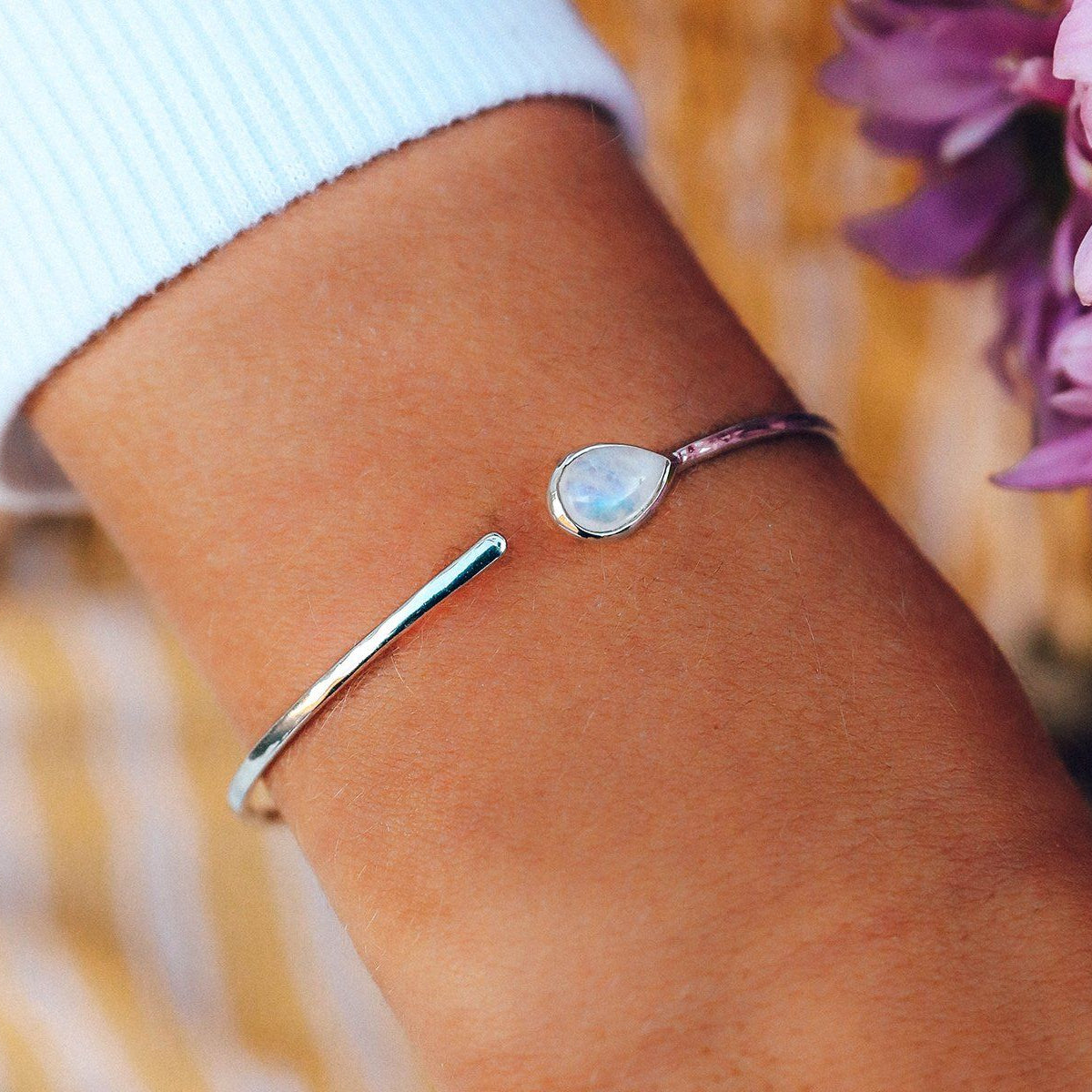 Moonstone Open Stone Cuff Photo 2