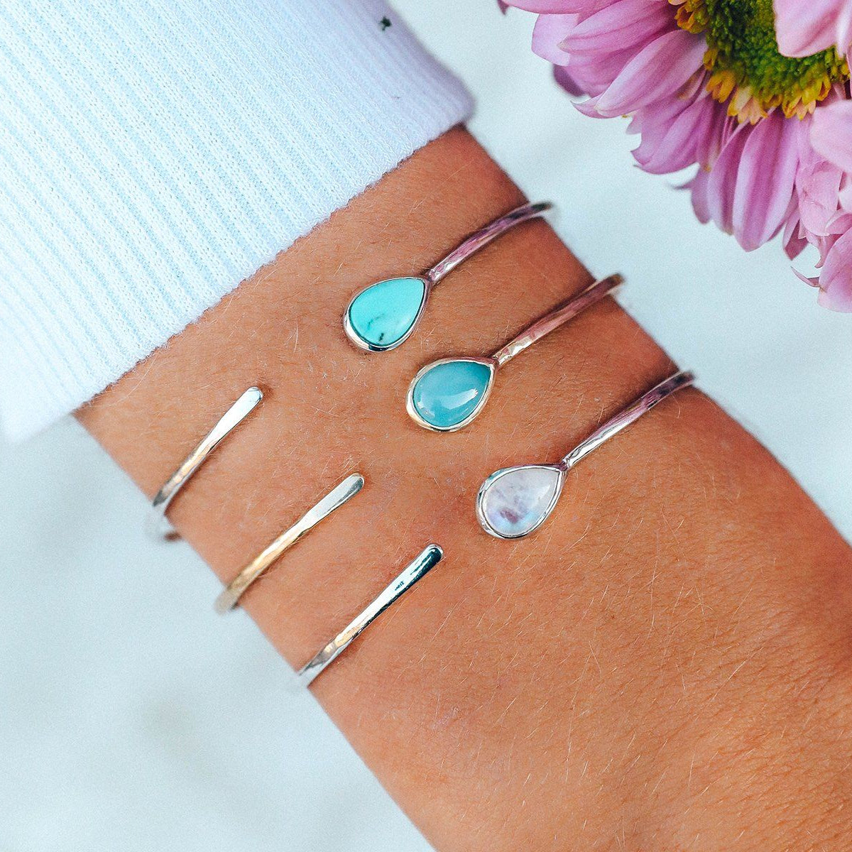 Moonstone Open Stone Cuff Photo 4