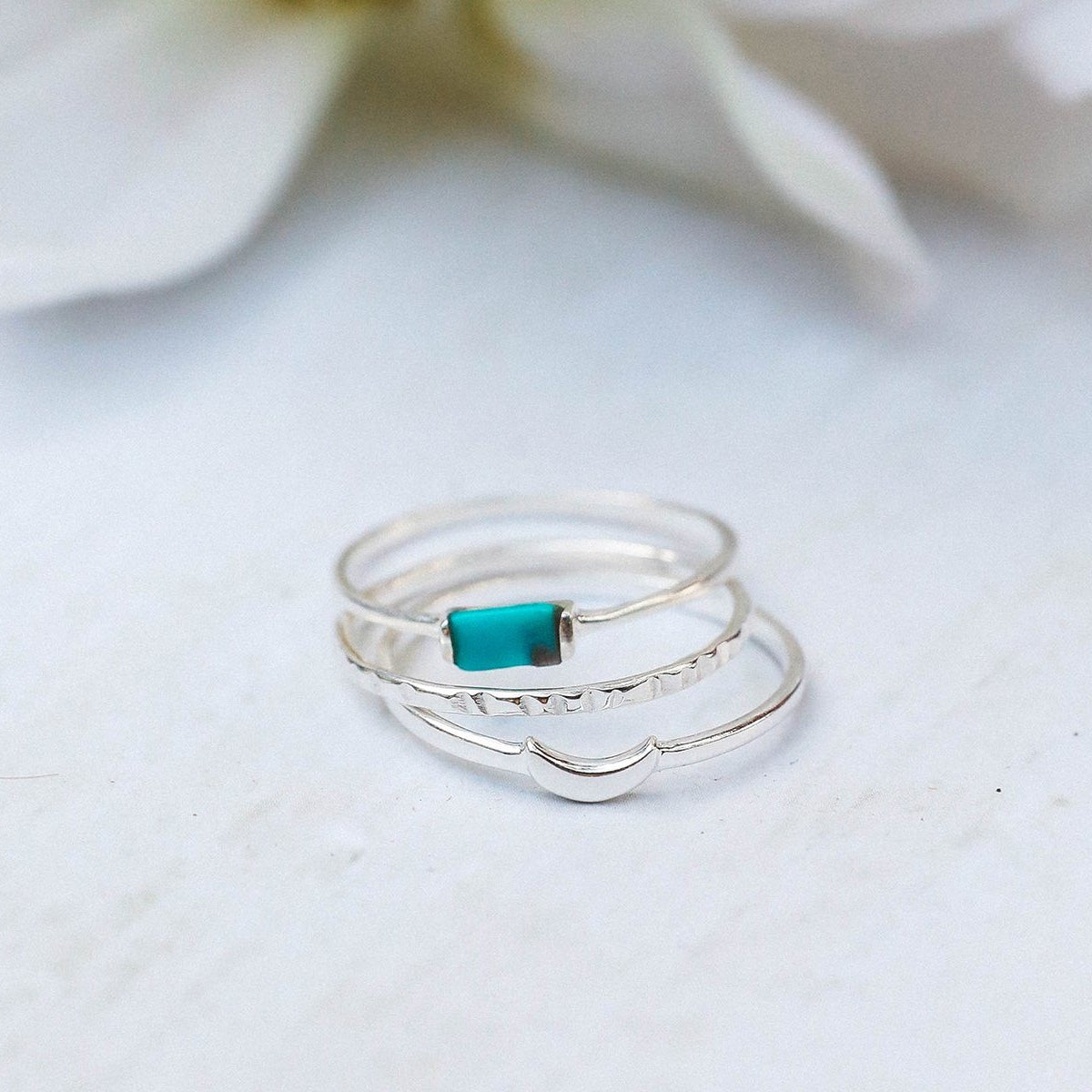 Baguette Crescent Stackable Ring Pack 3