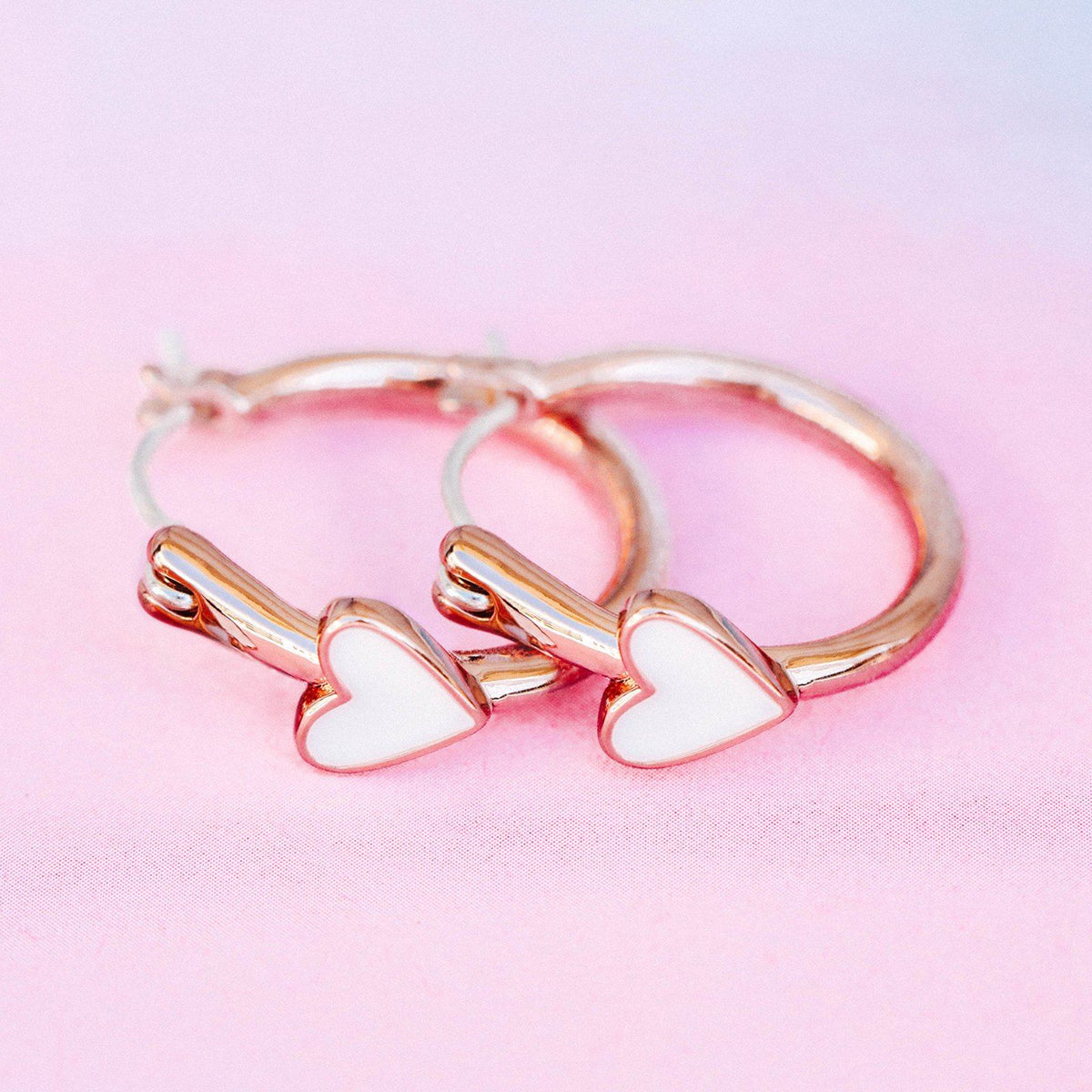 Petite Heart Hoop Earrings 7
