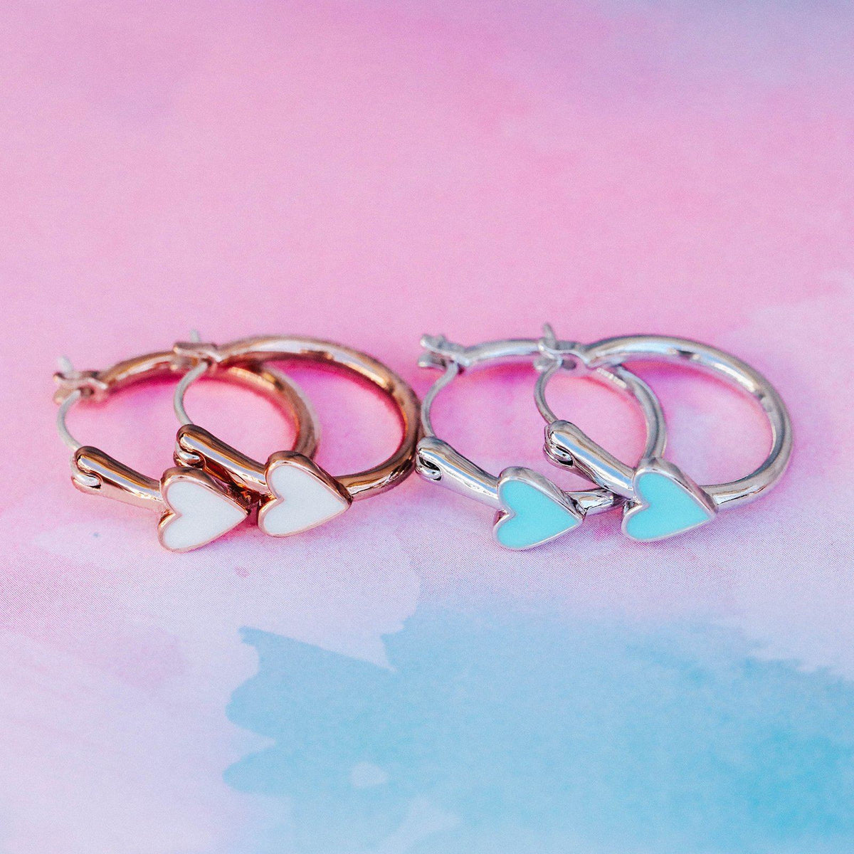 Petite Heart Hoop Earrings 8