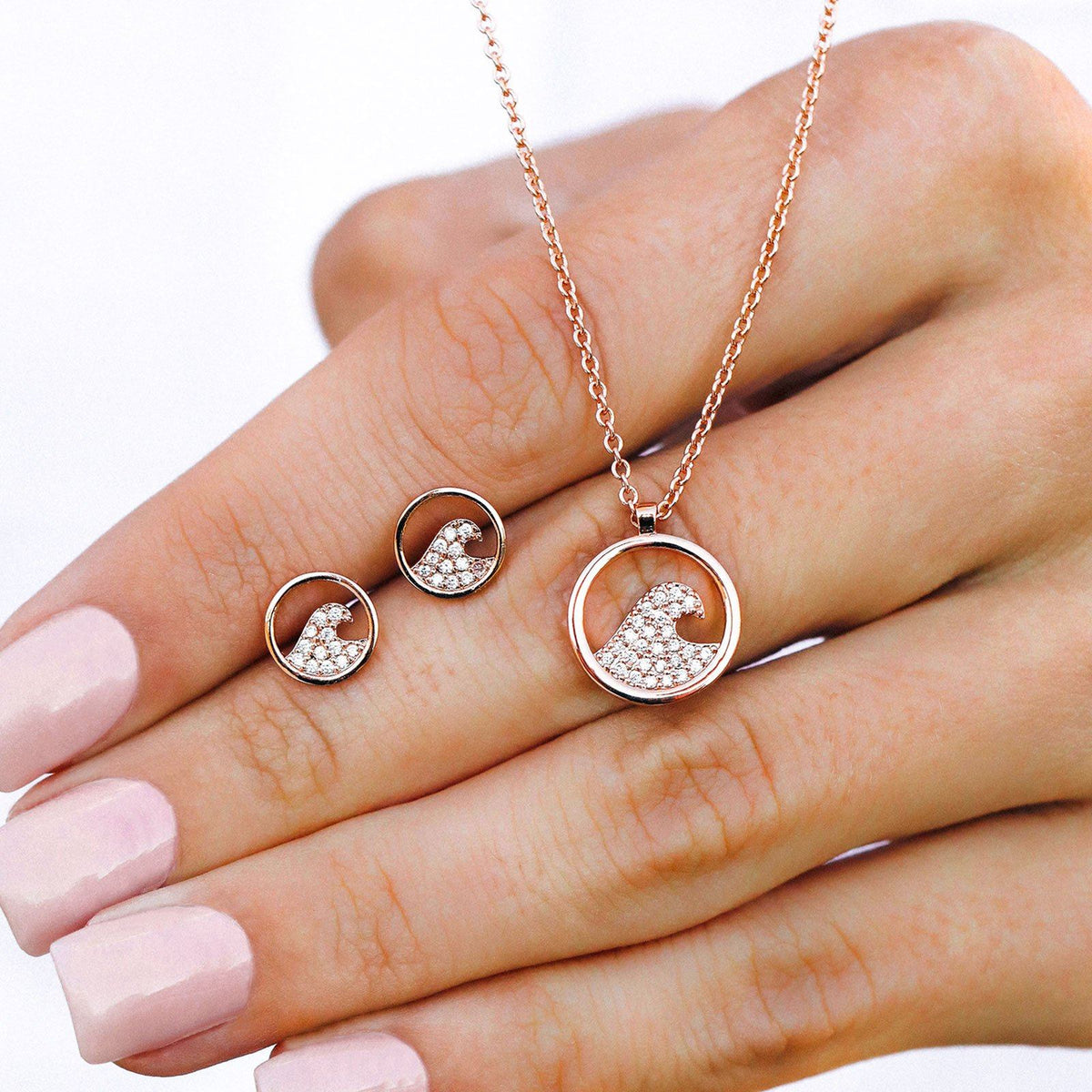 Pave Wave Necklace & Earring Set 2