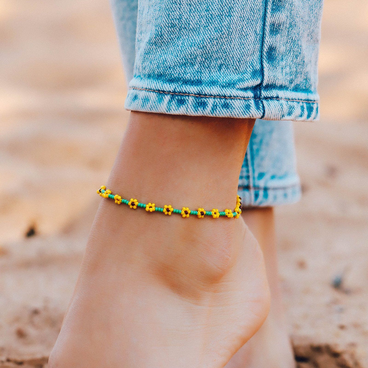 Sunflower Seed Bead Anklet 3
