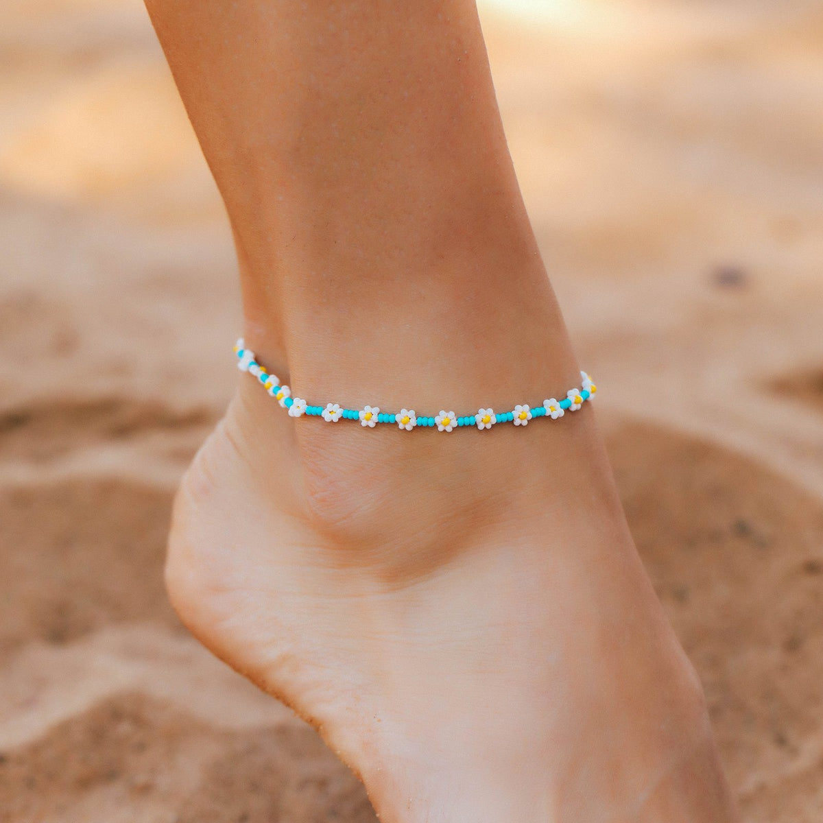 Daisy Seed Bead Anklet 2