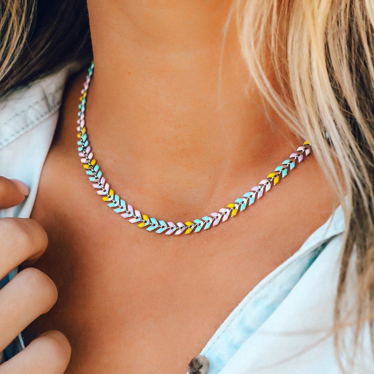 Rainbow Chevron Choker 3