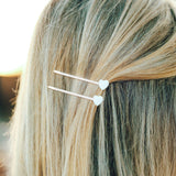 Pearlized Heart Hair Pins (Set of 2) Photo 2