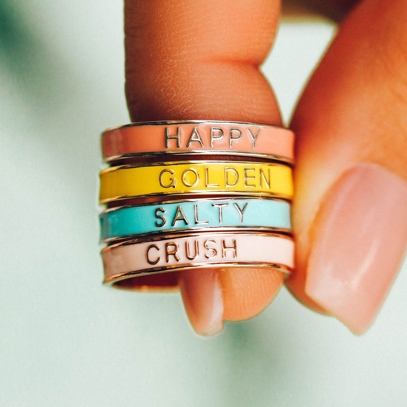 Golden Enamel Word Ring 4