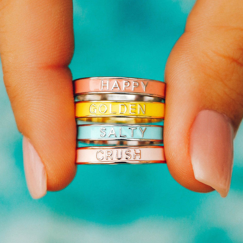 Golden Enamel Word Ring 3