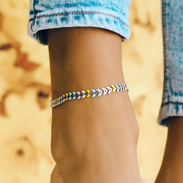 Rainbow Chevron Anklet