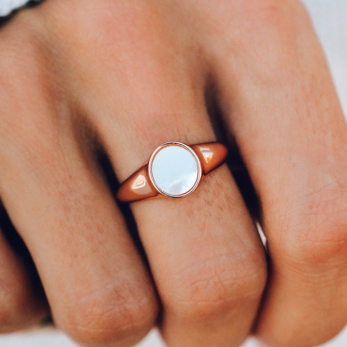 Mother of Pearl Signet Ring 4