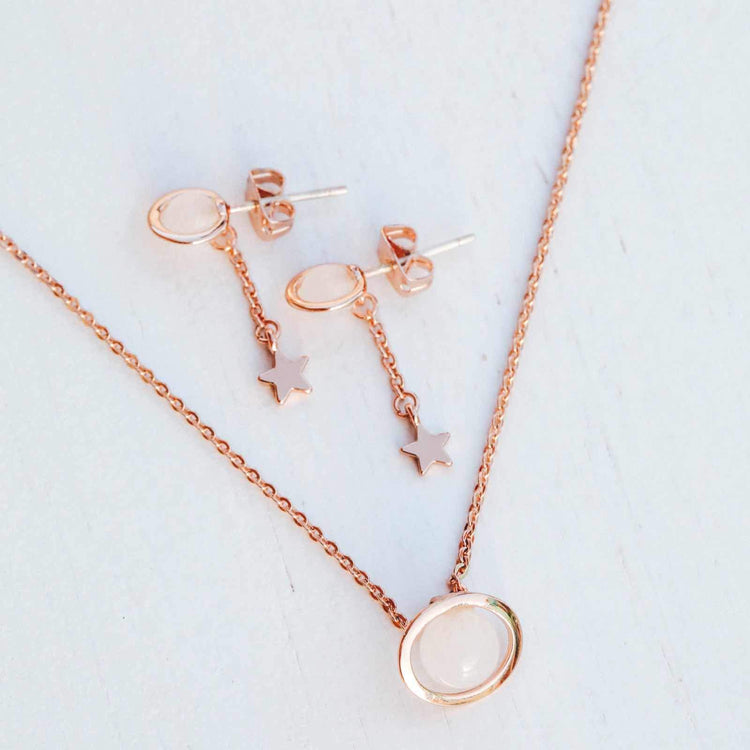 Saturn Necklace & Earring Set