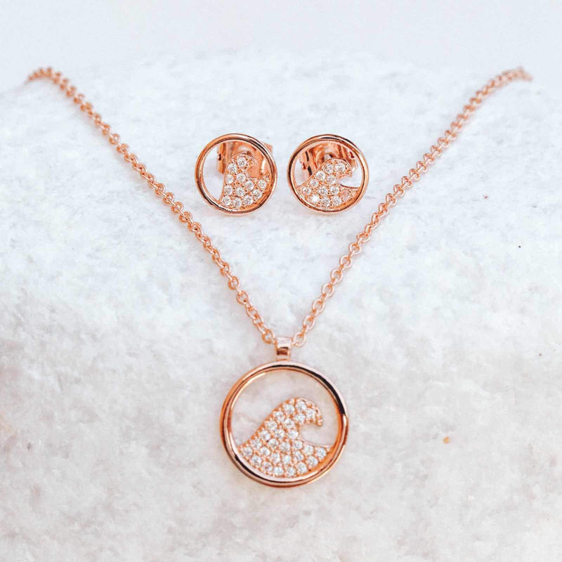 Pave Wave Necklace & Earring Set 4