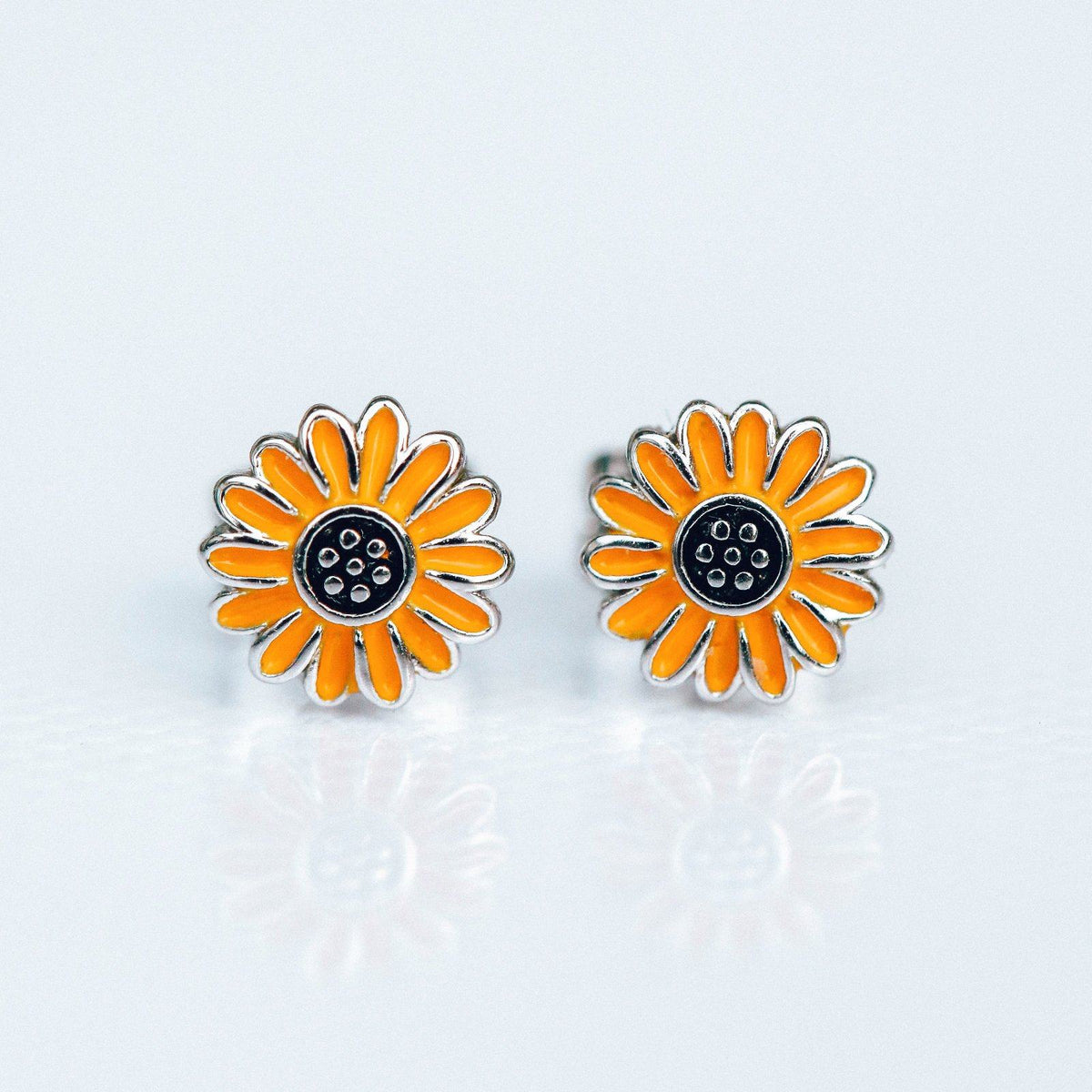 Enamel Sunflower Stud Earrings