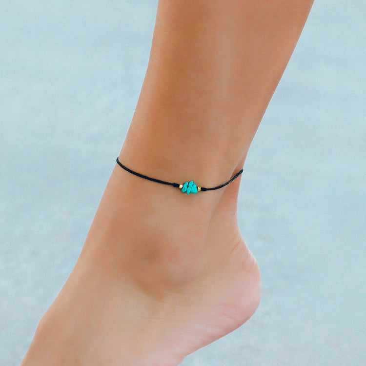 Turquoise Raw Stone Anklet