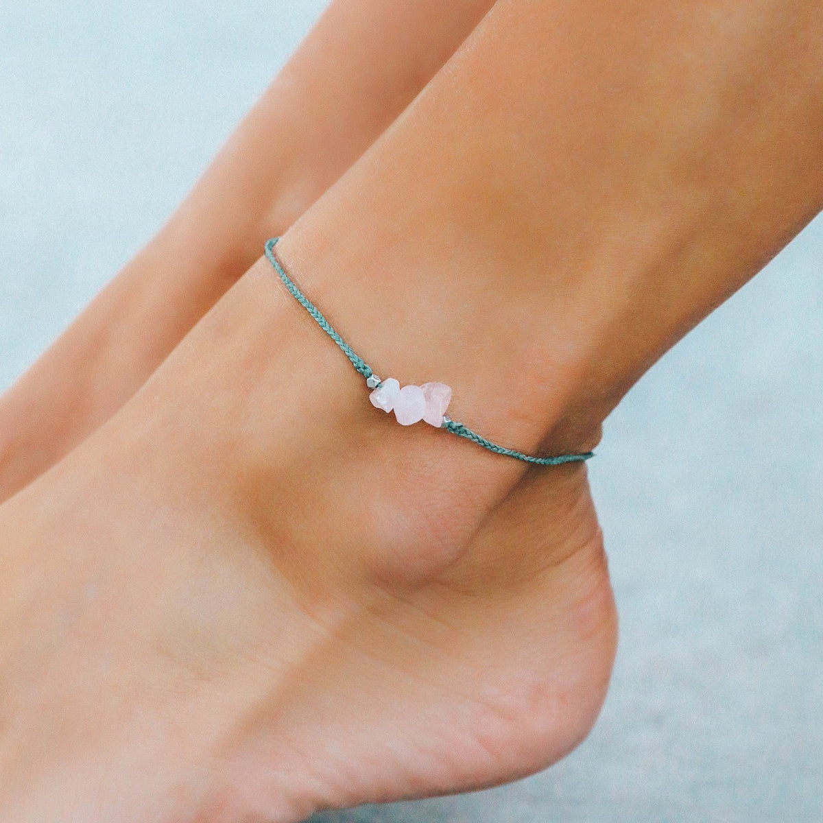 Rose Quartz Raw Stone Anklet 3