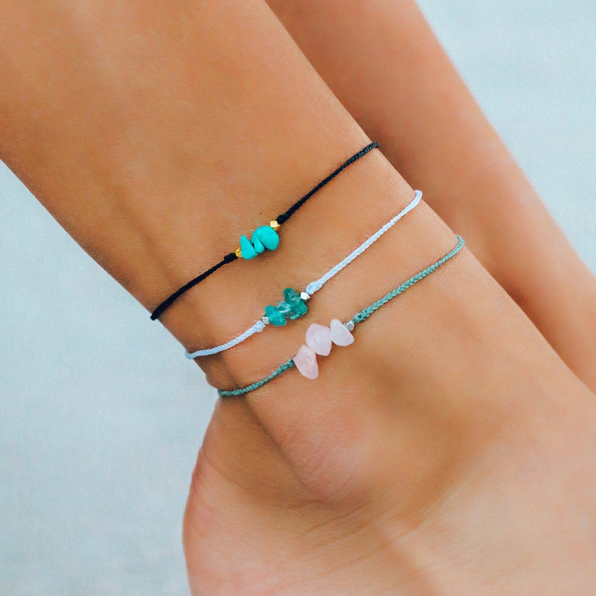 Rose Quartz Raw Stone Anklet 4