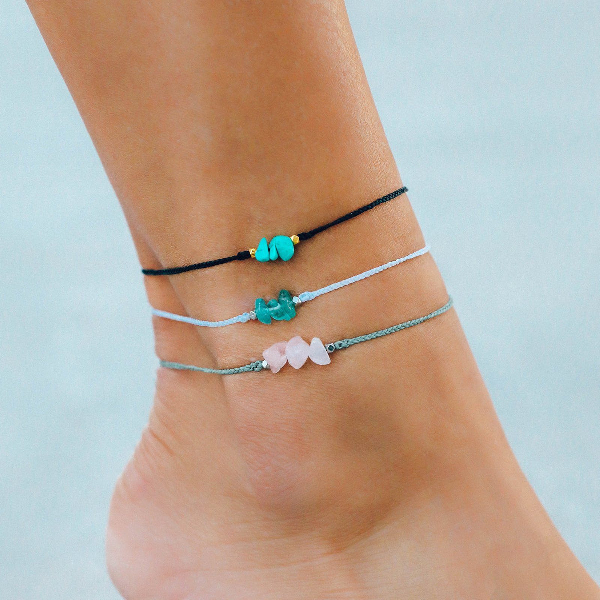Rose Quartz Raw Stone Anklet 5