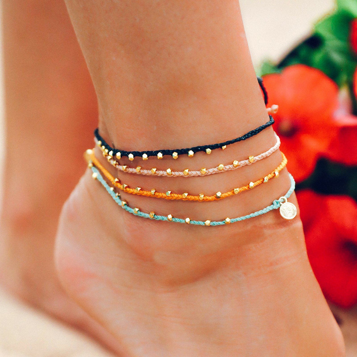 Gold Stitched Beaded Anklet 8