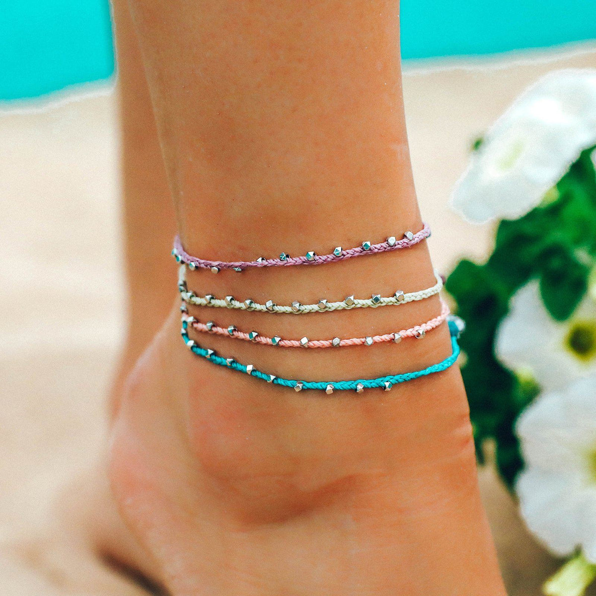 Silver Stitched Beaded Anklet 5