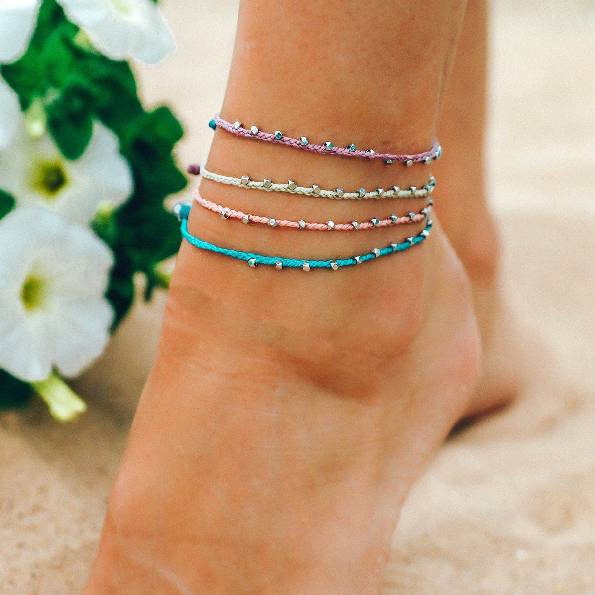 Silver Stitched Beaded Anklet 6