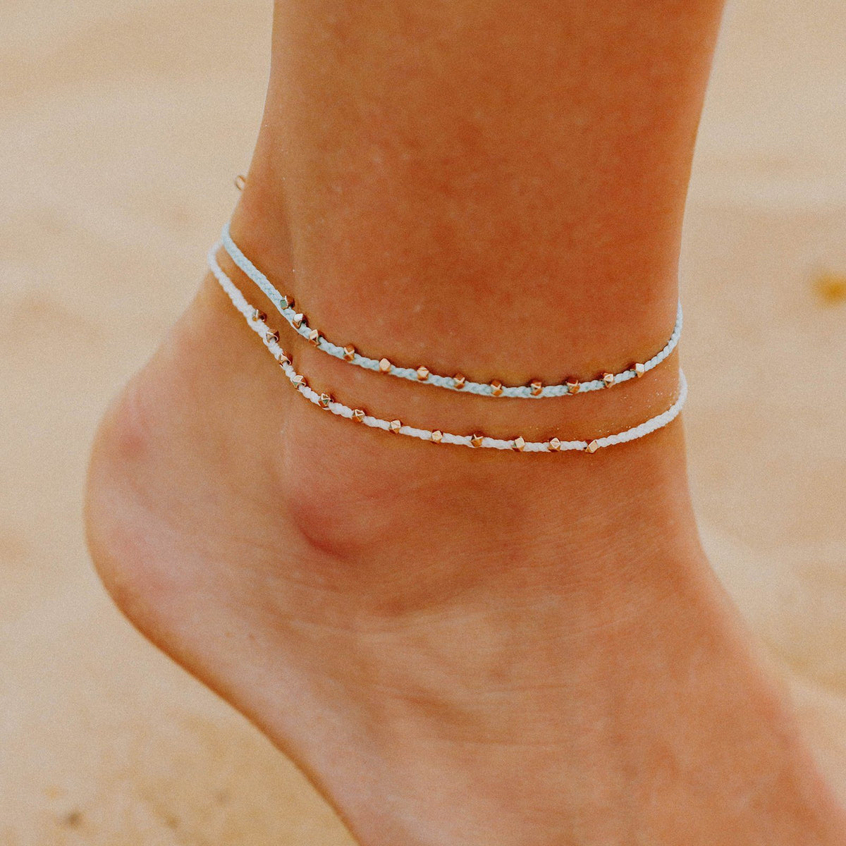Rose Gold Stitched Beaded Anklet 6