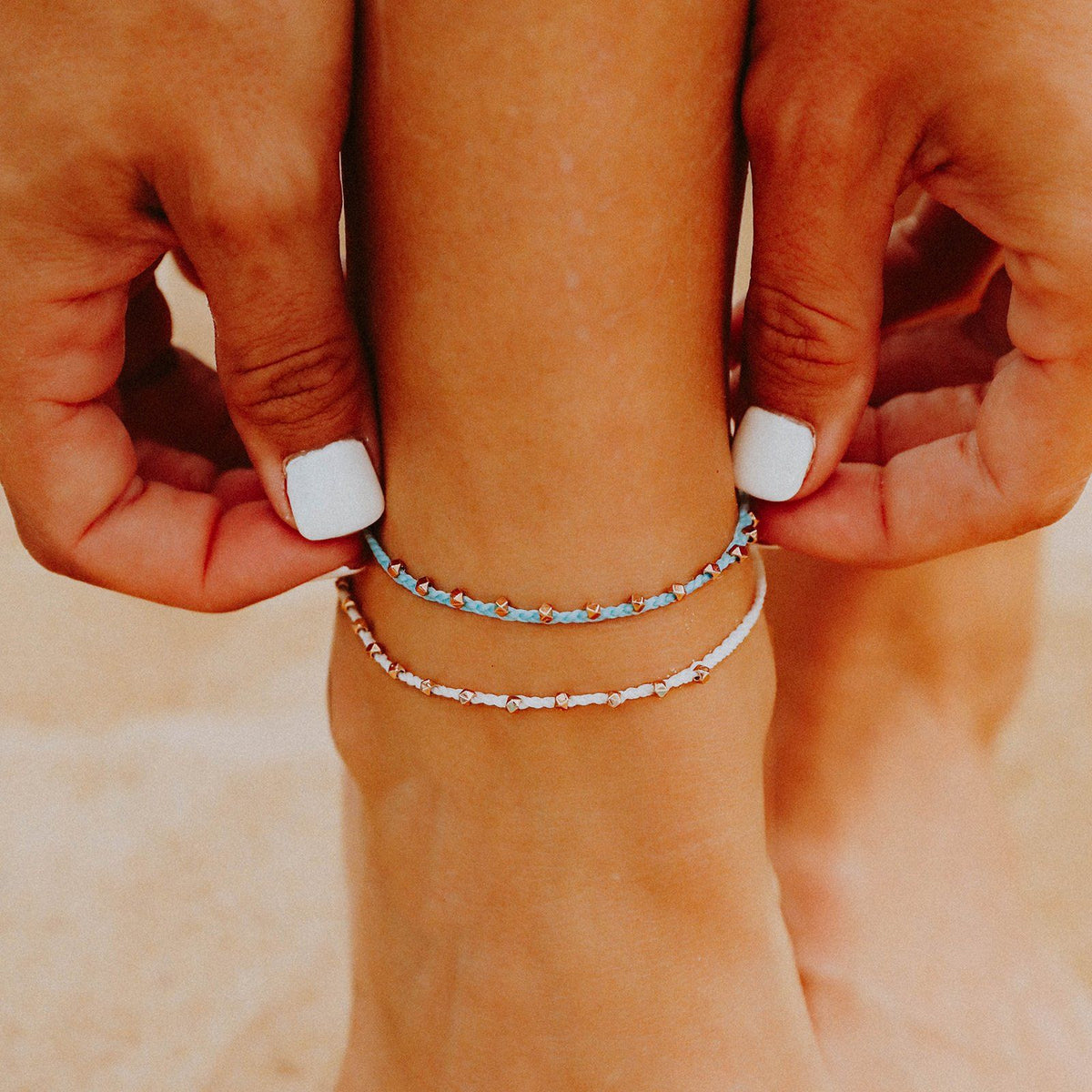 Rose Gold Stitched Beaded Anklet